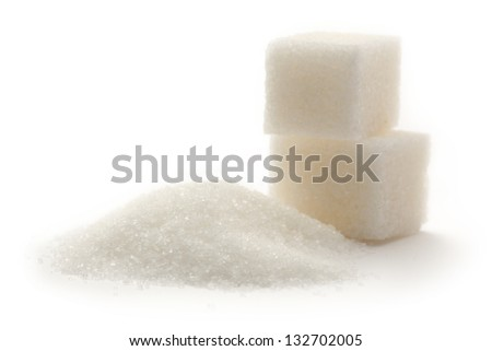 Sugar cubes on white background