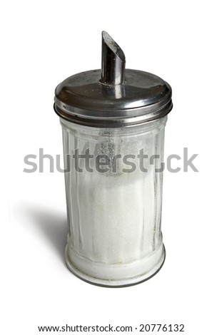 Sugar dispenser (metallic top)  isolated on a white background