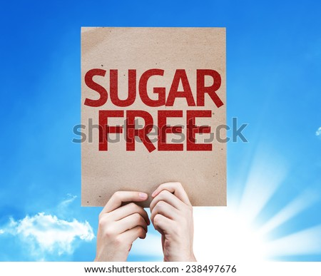 Sugar Free card with beautiful day - stock photo