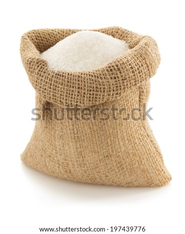 sugar granules in bag isolated on white background - stock photo