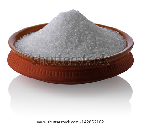 Sugar in a  bowl isolated on the white - stock photo