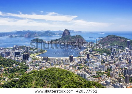 Sugar Loaf Mountain in Rio de Janeiro, Brazil. - stock photo