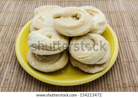 Sugar palm or sugar coconut (Jaggery) on the plate - stock photo
