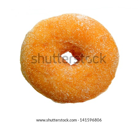 Sugar Ring Donut Isolated on White Background - stock photo