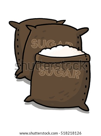 Sugar sacks illustration; open sack containing sugar