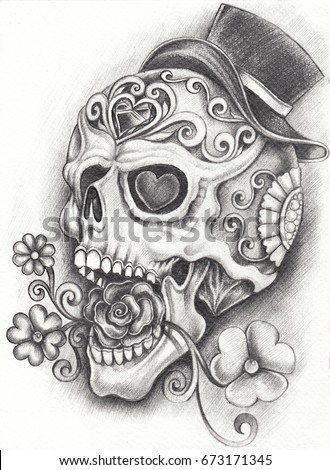 Delightful Sugar Skull Day Of The Dead. Hand Pencil Drawing On Paper.