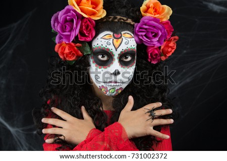 sugar skull little girl halloween costume and makeup portrait of a little girl with halloween