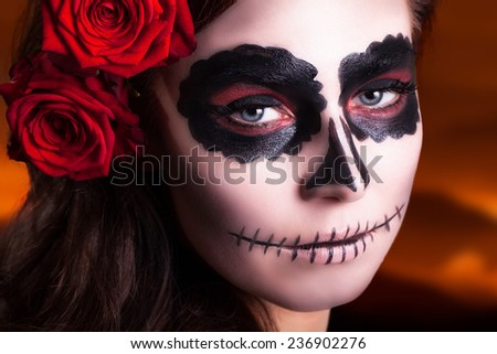 sugar skull makeup - stock photo