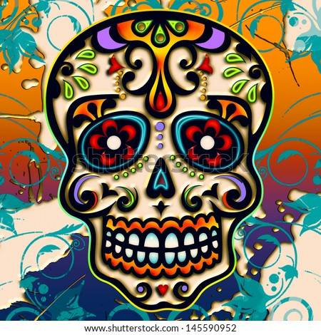 Sugar Skull - Mexico - dia de los muertos - day of dead - stock photo