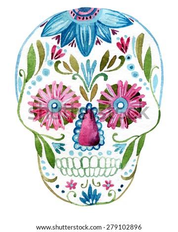 Sugar skull painting. Hand painted watercolor illustration - stock photo