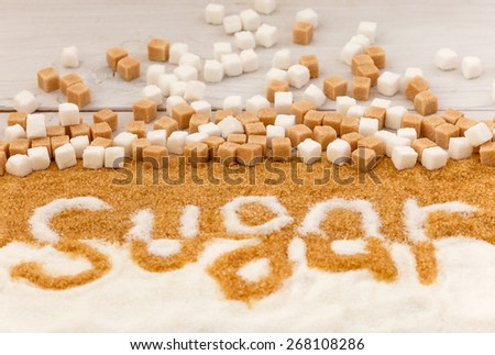 Sugar sweet food ingredient  as a symbol of  diet health risks related to diabetes and calorie intake - stock photo