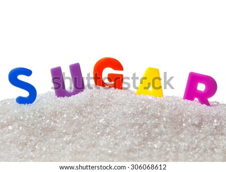 """Sugar with colored letters """"sugar"""" - stock photo"""
