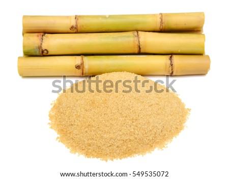 Sugarcane with sugar isolated on white background
