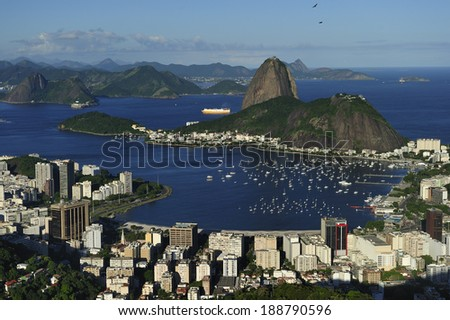 Sugarloaf is the symbol of Rio de Janeiro, standing at the mouth of Guanabara Bay, Rio de Janeiro, Brazil