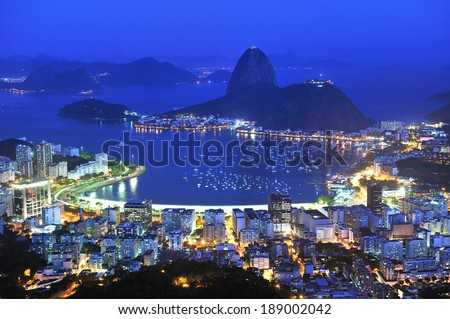 Sugarloaf is the symbol of Rio de Janeiro, standing at the mouth of Guanabara Bay, Rio de Janeiro, Brazil - stock photo