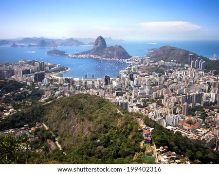 Sugarloaf mountain and Rio de Janeiro cityscape, Brazil. - stock photo