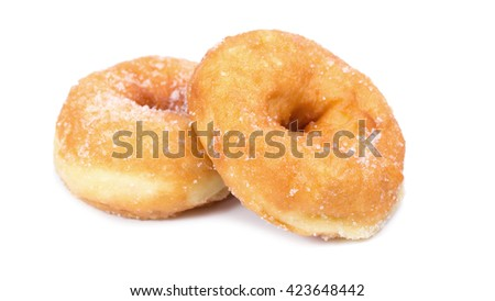 Sugary donut isolated on a white background. - stock photo