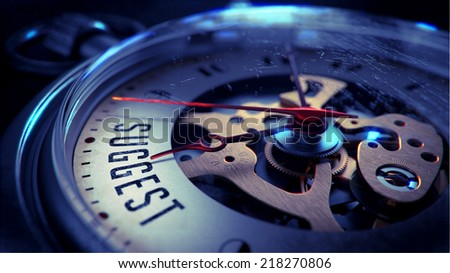 Suggest on Pocket Watch Face with Close View of Watch Mechanism. Time Concept. Vintage Effect. - stock photo