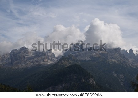 suggestive view of  cloudy Brenta Dolomites from Rendena Valley Trentino Italy