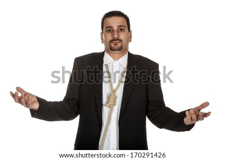 Suicidal businessman with a rope noose around his neck - stock photo