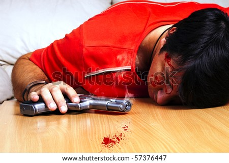 Suicide by gun scene - stock photo