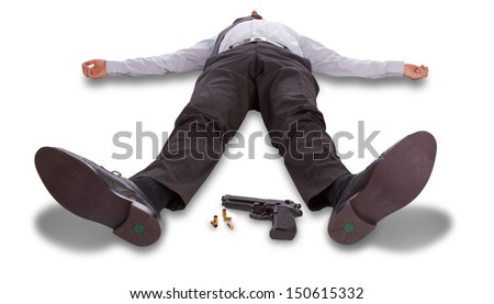 Suicide concept - man pointing shot himself, isolated on white - stock photo