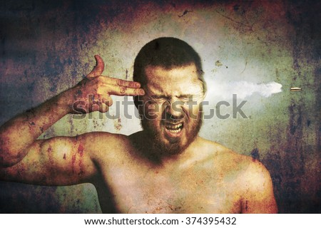 Suicide concept -?? stressed man killing himself - stock photo