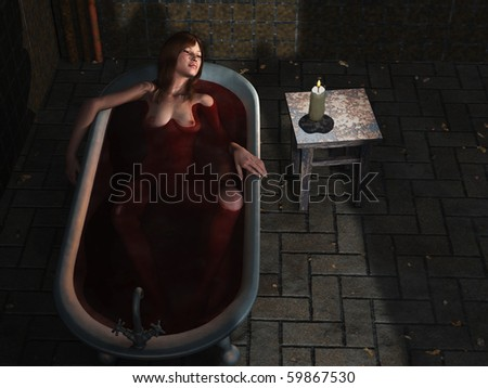 Suicide girl in bath - stock photo