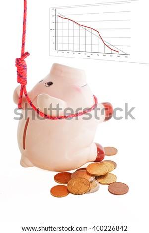 suicide of piggybank, metaphor of financial crisis - stock photo