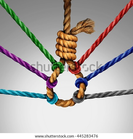 Suicide prevention support and group intervention symbol as a rope shaped in a suicidal noose with a group of ropes preventing the danger by pulling the knot open as a mental health symbol. - stock photo