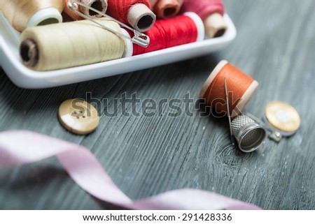 Suit, fabric, needlework. - stock photo