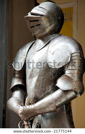 Suit of armor close-up - stock photo