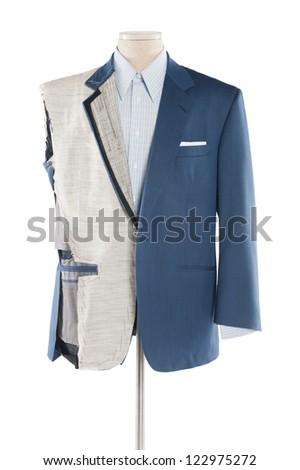 Suit on tailor's dummy over white background