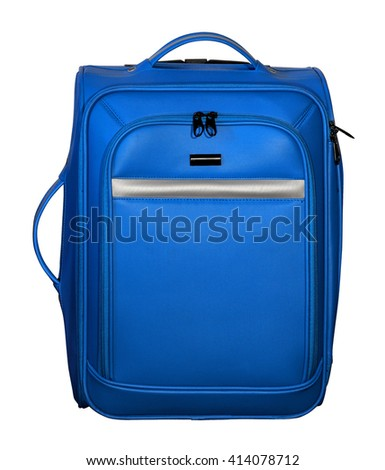 Suitcase for travel. Blue color with silver accents. Extendable handle removed. - stock photo