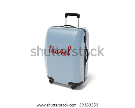 suitcase for travel on white background - stock photo