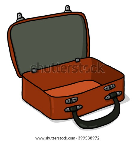 Suitcase illustration; Open suitcase; Empty suitcase