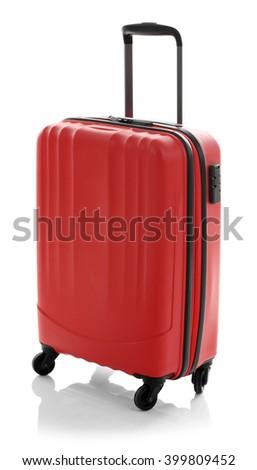 Suitcase isolated on white - stock photo