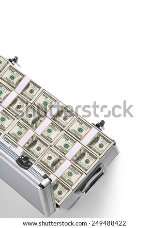 Suitcase of money / studio photography of silver case with hundred dollar bills on a white background  - stock photo