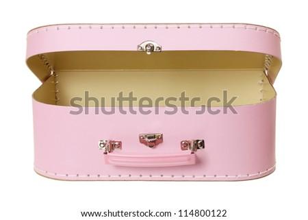 Suitcase on White Background - stock photo
