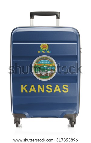 Suitcase painted into US state flag series - Kansas - stock photo