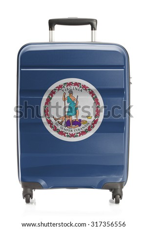 Suitcase painted into US state flag series - Virginia - stock photo