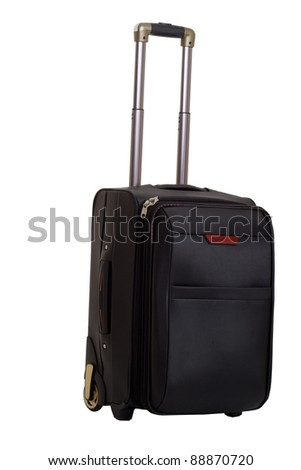suitcase with a handle on a white background
