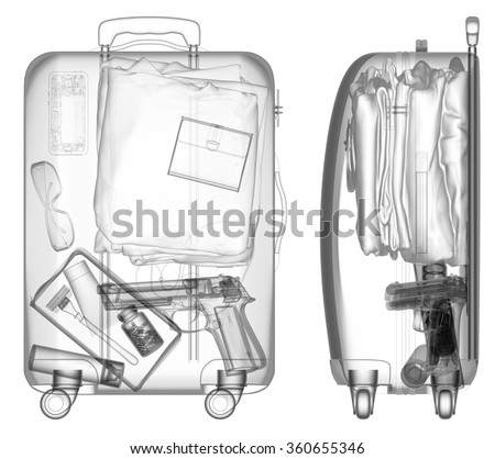 Suitcase with handgun under xray on security control black and white - stock photo