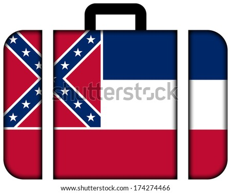 Suitcase with Mississippi State Flag - stock photo