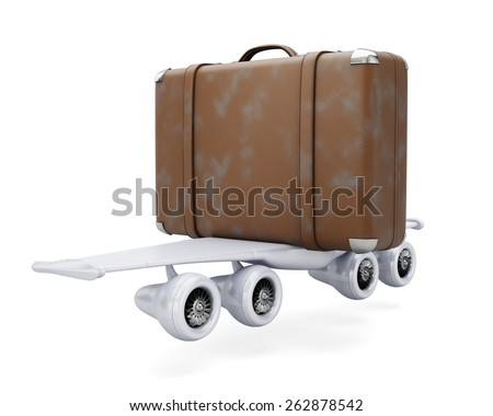 Suitcase with wings isolated on white. Traveling concept. 3d render - stock photo