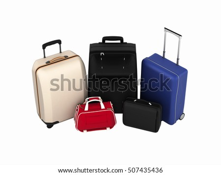 Suitcases and bags, travel concept without shadows isolated on white background 3d render