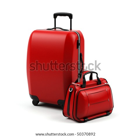 Suitcases isolated on a white background. - stock photo