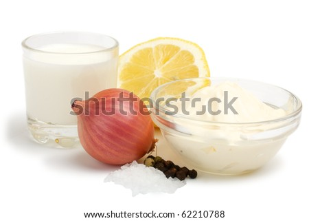 Suite of products for the preparation of sauce Ranch. All products are raw. Isolated on white background.