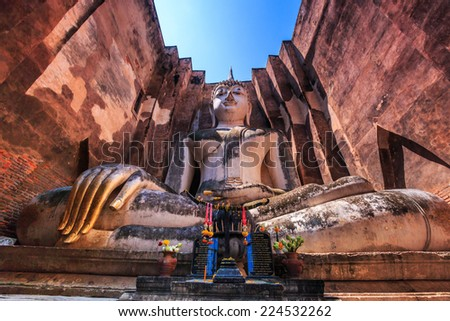 Sukhothai historical park, ancient Buddha Thailand, They are public domain or treasure of Buddhism, no restrict in copy or use  - stock photo