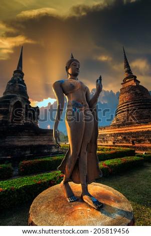 Sukhothai historical park at Sukhothai province in Thailand - stock photo